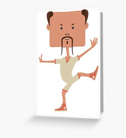 Funny karate man Greeting Card
