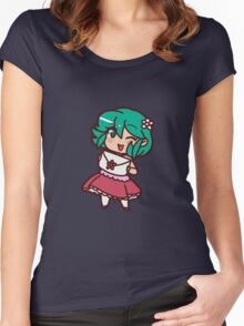 Cute Green Haired Girl Women's Fitted Scoop T-Shirt