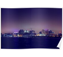 City Glow of DownTown Norfolk Waterside. Poster