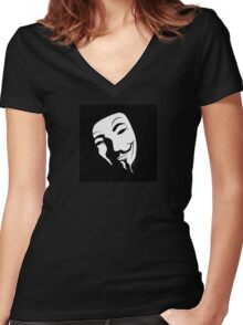 V for vendetta mask Women's Fitted V-Neck T-Shirt