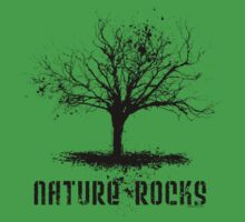 Nature Rocks Black Tree Silhouette  Kids Tee