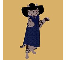 Fashion Cat - In 70's style summer dress Photographic Print