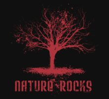 Nature Rocks Red Tree Silhouette  Kids Tee