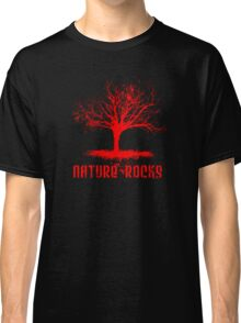 Nature Rocks Red Tree Silhouette  Classic T-Shirt
