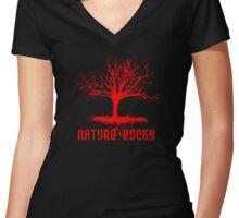 Nature Rocks Red Tree Silhouette  Women's Fitted V-Neck T-Shirt