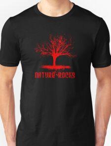 Nature Rocks Red Tree Silhouette  Unisex T-Shirt