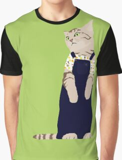 Fashion cat - In dungarees and a tropical bardot top Graphic T-Shirt