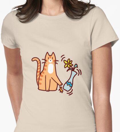 Jerk Cat Womens Fitted T-Shirt