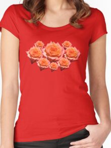 Orange Rose with Droplets Women's Fitted Scoop T-Shirt