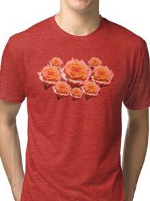 Orange Rose with Droplets Tri-blend T-Shirt