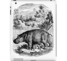 Vintage Baby Hippopotamus Illustration Retro 1800s Black and White Hippo Image iPad Case/Skin
