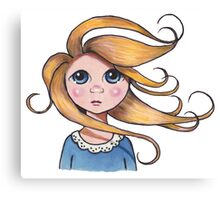 Curly Haired, Big Eyed Girl on Windy Day, Surreal Art Canvas Print