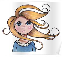 Curly Haired, Big Eyed Girl on Windy Day, Surreal Art Poster