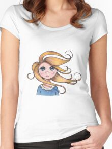 Curly Haired, Big Eyed Girl on Windy Day, Surreal Art Women's Fitted Scoop T-Shirt
