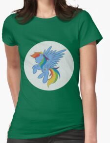 Rainbow Dash Abstract 2 (White + Oil Paint) Womens Fitted T-Shirt