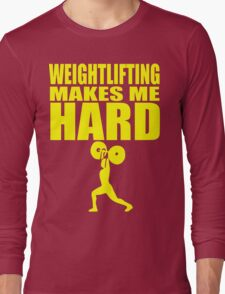 Funny Sport - Weight Lifting Makes Me Hard - yellow Long Sleeve T-Shirt