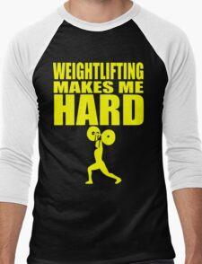 Funny Sport - Weight Lifting Makes Me Hard - yellow Men's Baseball ¾ T-Shirt
