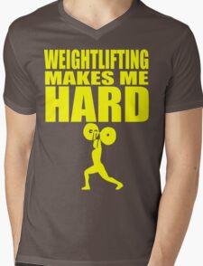 Funny Sport - Weight Lifting Makes Me Hard - yellow Mens V-Neck T-Shirt