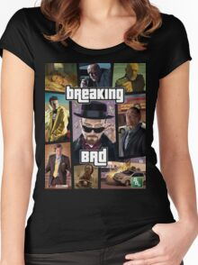 Breaking Bad / Grand Theft Auto Crossover (Clear Frame) Women's Fitted Scoop T-Shirt