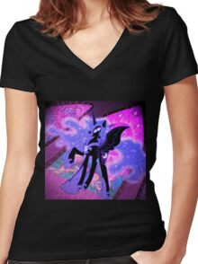 Nightmare Moon Oil Paint Women's Fitted V-Neck T-Shirt