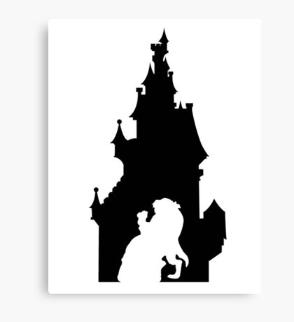 Beauty and The Beast (Black) Canvas Print