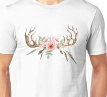 Deer Antlers & Flowers Unisex T-Shirt