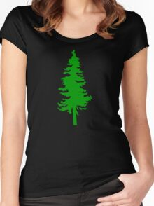 Plain Green Tree | Doug Fir/Pine/Evergreen Women's Fitted Scoop T-Shirt
