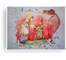 Alice in Worderland, opening the small door fanart Canvas Print