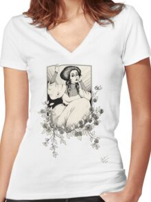 Lovely Lady [Transparent] Women's Fitted V-Neck T-Shirt
