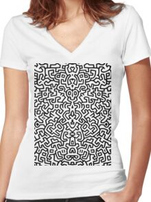 wall keith Black and select your colour Women's Fitted V-Neck T-Shirt