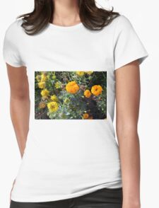 Beautiful yellow flowers in the garden. Womens Fitted T-Shirt