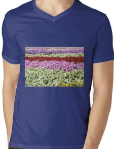 Beautiful colorful stripes of flowers. Mens V-Neck T-Shirt