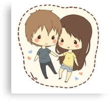 cute chibi couple  Canvas Print