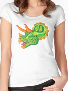 Triceratops (lime) Women's Fitted Scoop T-Shirt