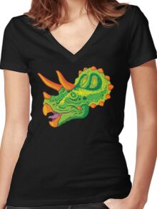 Triceratops (lime) Women's Fitted V-Neck T-Shirt