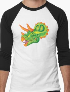 Triceratops (lime) Men's Baseball ¾ T-Shirt