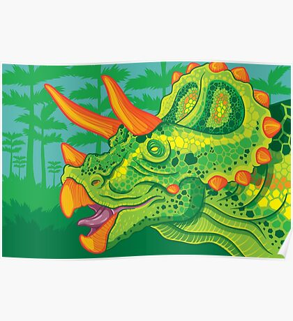 Triceratops (lime) Poster