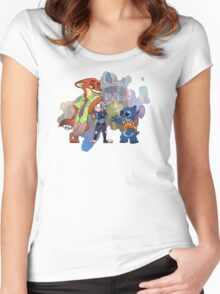 Stitch In Zootopia Women's Fitted Scoop T-Shirt