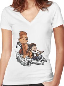 Chewie And Han Women's Fitted V-Neck T-Shirt