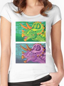 Triceratops (lime + grape) Women's Fitted Scoop T-Shirt