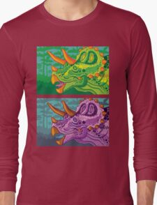 Triceratops (lime + grape) Long Sleeve T-Shirt