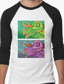 Triceratops (lime + grape) Men's Baseball ¾ T-Shirt