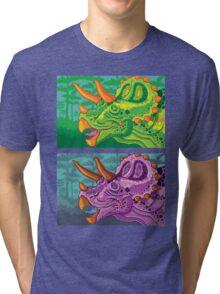 Triceratops (lime + grape) Tri-blend T-Shirt