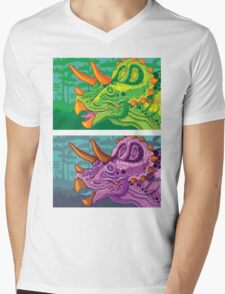 Triceratops (lime + grape) Mens V-Neck T-Shirt