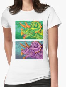 Triceratops (lime + grape) Womens Fitted T-Shirt