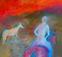 """Nude rider"", riding off into the sunset . by Mary Taylor"