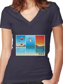 Pelican balloon graphic Women's Fitted V-Neck T-Shirt