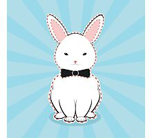 White Bunny with Bow Photographic Print