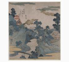 Kuniyoshi Utagawa - Evening View of Fuji - 1830 - Woodcut Kids Tee