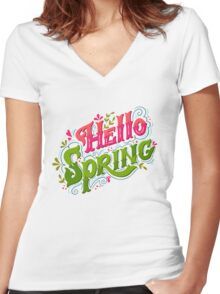 Hello spring Women's Fitted V-Neck T-Shirt